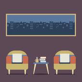 Flat Design Empty Seats Vintage Interior Vector Illustration — Stock Vector