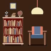 Modern design inredning soffa och bokhylla — Stockvektor