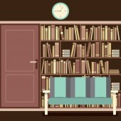 Reading Seat In Front Of A Huge Bookcase — Vetorial Stock