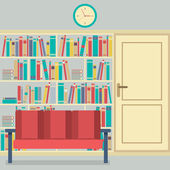 Reading Seats In Front Of A Huge Bookcase — Vetorial Stock