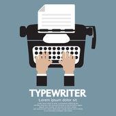 Flat Design of Typewriter The Classic Typing Machine — Wektor stockowy