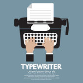 Flat Design of Typewriter The Classic Typing Machine — Stock Vector