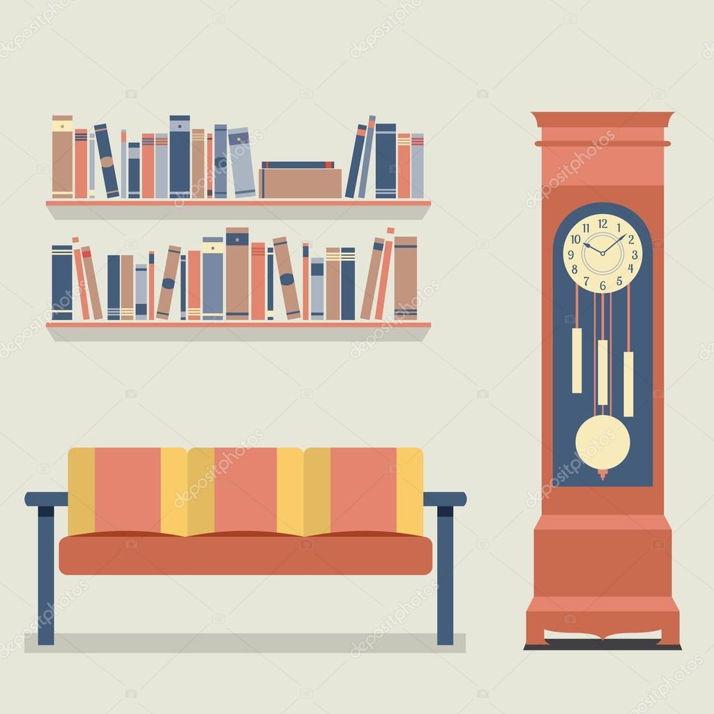 Ilustraci n de vector de dise o de interiores living for Apartment design vector