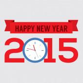 2015 Greeting Card Flat Design Vector Illustration — Stock Vector