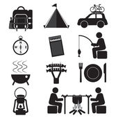 Camping And Outdoor Activity Icon Set Vector Illustration — Vector de stock