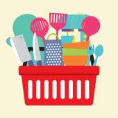 Utensil In Shopping Basket Vector Illustration — Stockvektor