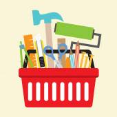 Hand Tools In Shopping Basket Vector Illustration — Stockvektor