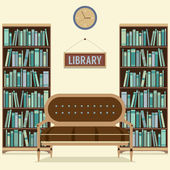 Empty Reading Seat In Library Vector Illustration — Cтоковый вектор