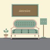 Modern Design Interior Sofa Vector Illustration — 图库矢量图片