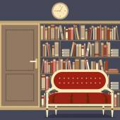 Reading Seat In Front Of A Huge Bookcase — Stock Vector