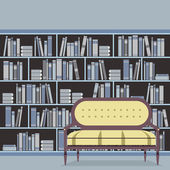 Empty Reading Seat In Front Of A Bookcase Vector Illustration — Stock Vector