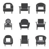 Sofa Icon Set Vector Illustration — 图库矢量图片