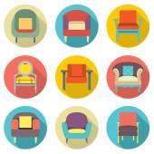 Flat Design Long Shadow Effect Sofa Icons Set Vector Illustratio — Stock Vector