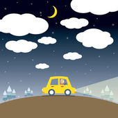 Single Woman Drive A Car In The Night — Stock Vector
