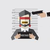 Hostage On Mugshot With Gun Point To His Head — Stock Vector