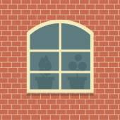 Window On Brick Wall Background Vector Illustration — Stock Vector