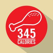 Single Fried Chicken 345 Calories Symbol Vector Illustration — Stock Vector