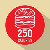 Single Hamburger 250 Calories Symbol Vector Illustration — Stock Vector