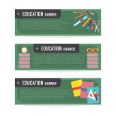 组的教育旗帜矢量图 — 图库矢量图片
