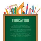 School Supplies With Chalkboard Education Concept Vector Illustr — Stock Vector