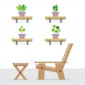 Pot Plants On Shelves With Side View Of Wooden Garden Chair And — Stock Vector
