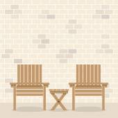 Wooden Garden Chairs With Table In Front Of Bricks Wall Backgrou — Stock Vector