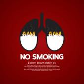 Cigarettes Ash In Lung-No Smoking Concept Vector Illustration — Stock Vector
