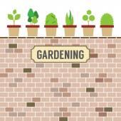 Pot Plants On Brick Wall Gardening Concept Vector Illustration — Stock Vector