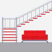Interior Design Stairs With Sofa Vector Illustration — Vector de stock