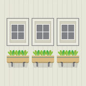 Closed Windows With Pot Plants Below Vector Illustration — Stock Vector