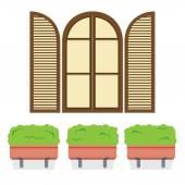 Open Vintage Arc Window With Pot Plants Below Vector Illustratio — Stock Vector
