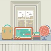 Laptop, Books, Eyeglasses And Desk Globe On Windowsill — Stock Vector
