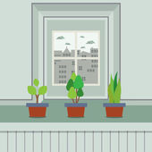 Set Of Pot Plants On Windowsill Vector Illustration — Stock Vector