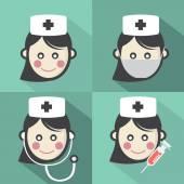 Flat Design Nurse Icon With Long Shadow Effect Vector Illustrati — Stock Vector