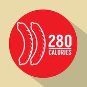 Hot Dog 280 Calories Symbol Vector Illustration — Stock Vector