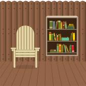 Empty Chair On Wood Wall And Ground With Bookcase Beside Vector  — Stock Vector