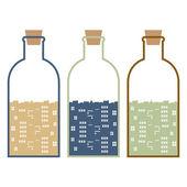 Set Of Buildings In Glasses Bottles Vector Illustration — Stock Vector