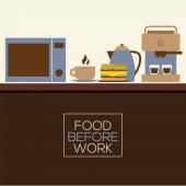 Food Before Work Healthy Concept Vector Illustration — Stok Vektör
