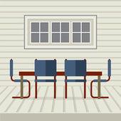 Flat Design Interior Dining Room Vector Illustration — Stockvektor