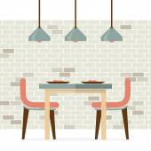 Flat Design Interior Dining Room Vector Illustration — Stock Vector
