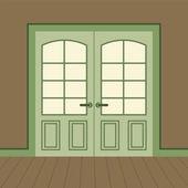 Flat Design Wooden Double Doors Vector Illustration — Stock vektor