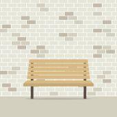 レンガ壁ベクトル図で空の椅子 — ストックベクタ