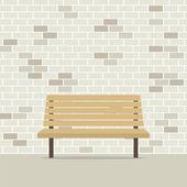 Empty Chair On Brick Wall Vector Illustration — Stockvektor