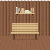 Empty Chair On Wooden Wall Vector Illustration — Stockvektor