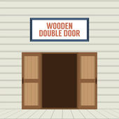 Flat Design Open Wooden Double Door Vector Illustration — Stock Vector