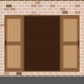 Flat Design Open Wooden Double Door Vector Illustration — Stockvektor
