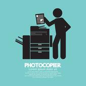 Graphic Symbol Of A Man Using A Photocopier Vector Illustration — Vetorial Stock