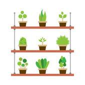 Pot Plants Gardening Concept Vector Illustration — Stockvektor