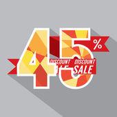 Flat Design Discount 45 Percent Off Vector Illustration — Stock Vector
