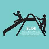 Children Having Fun With Slide Vector Illustration — Stockvektor